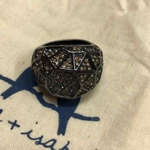Hexagon Domed Pave Ring